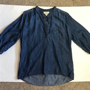 Anthropologie Elevenses Wagner Chambray Tunic Top